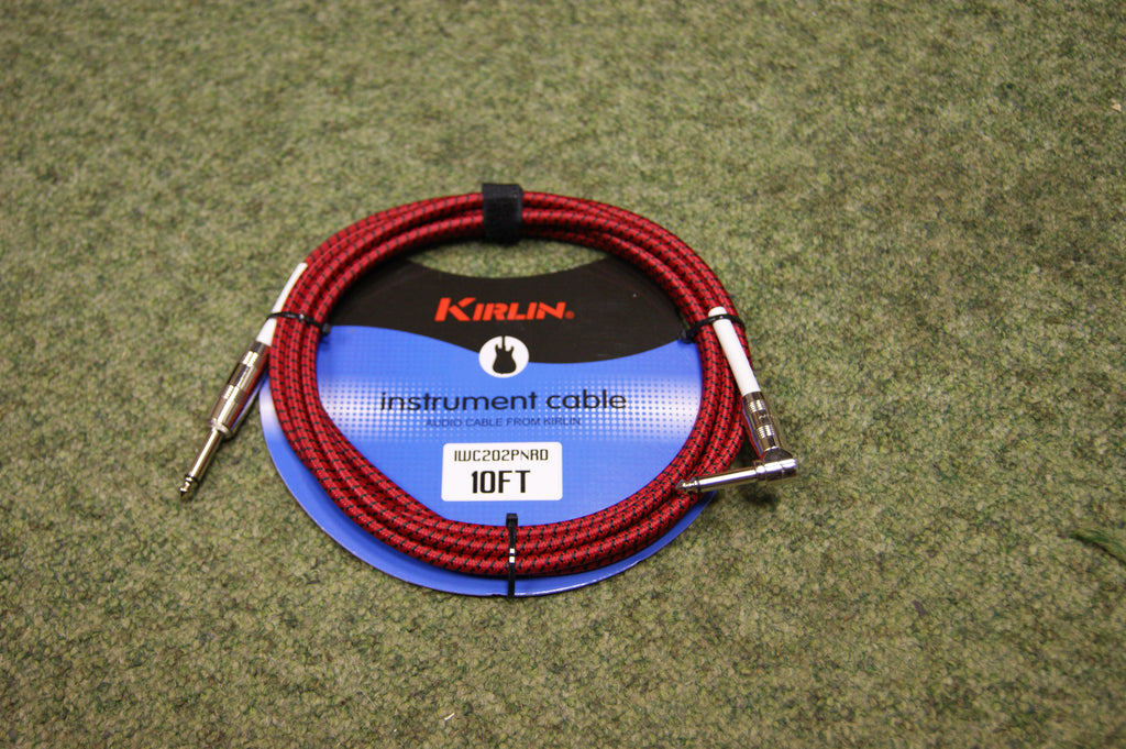 Guitar lead by Kirlin 10ft fabric Red/Black R/A