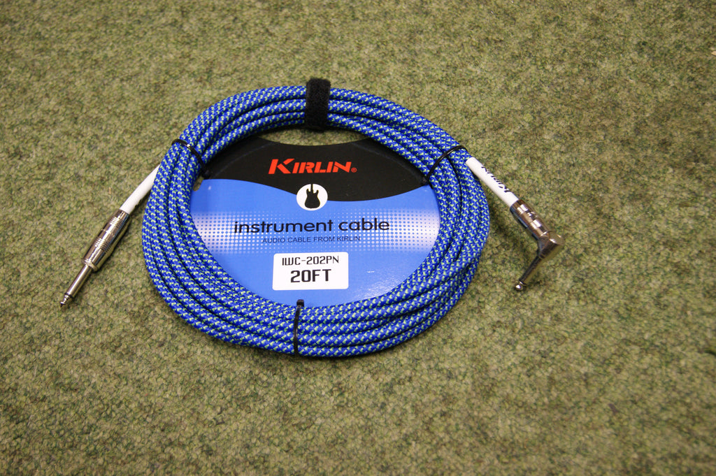 Guitar lead by Kirlin 20ft fabric blue/green R/A