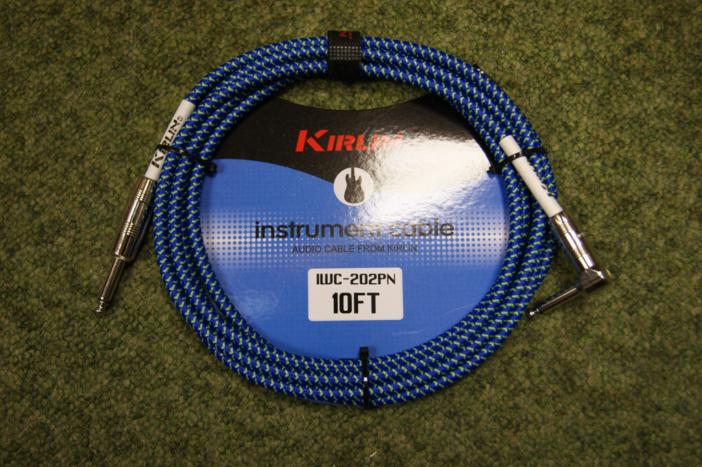 Guitar lead by Kirlin 10ft fabric blue/green R/A