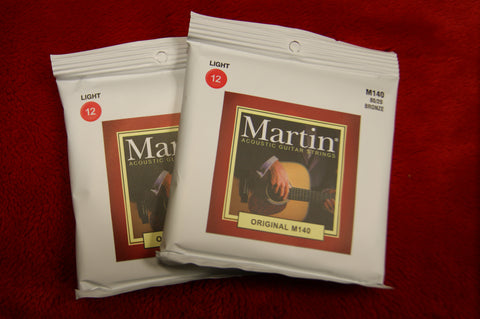 Martin M140 light acoustic guitar strings 12-54 (2 PACKS)