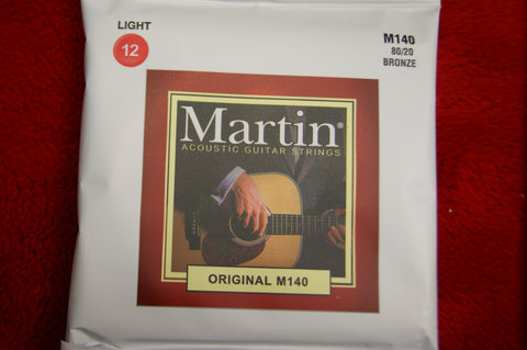 Martin M140 light acoustic guitar strings 12-54
