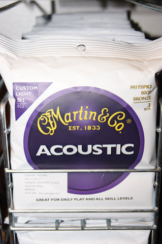Martin M175 custom light acoustic guitar strings (3 PACKS)