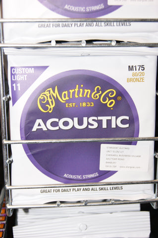 Martin M175 custom light acoustic guitar strings 11-52