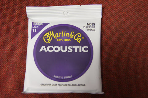 Martin M535 phosphor bronze acoustic guitar strings 11-52 custom light
