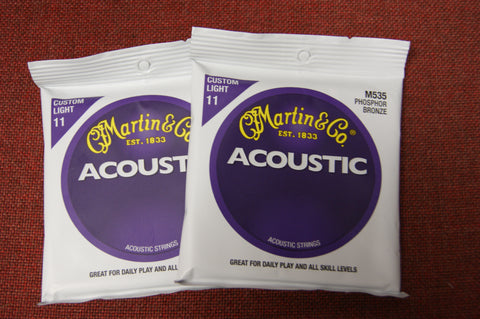 Martin M535 phosphor bronze acoustic guitar strings 11-52 custom light (2 PACKS)