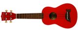 Ukulele by Makala in Candy Apple Red finish with Dolphin bridge