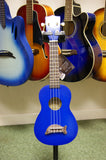 Ukulele by Makala with dolphin bridge in metallic blue finish