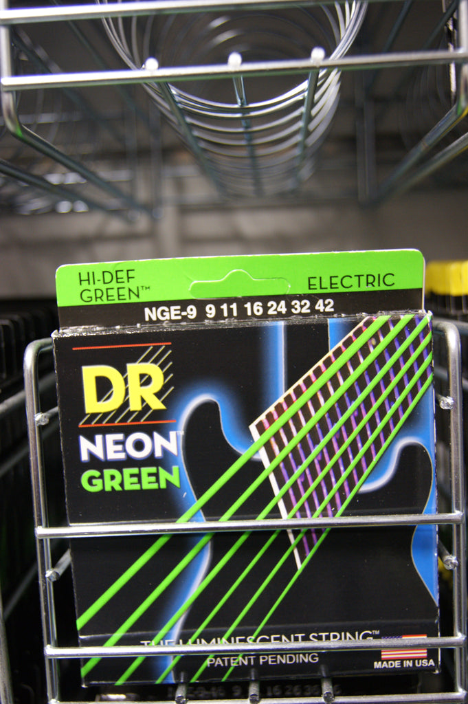 DR Neon NGE-9 Green coated electric guitar strings 9-42