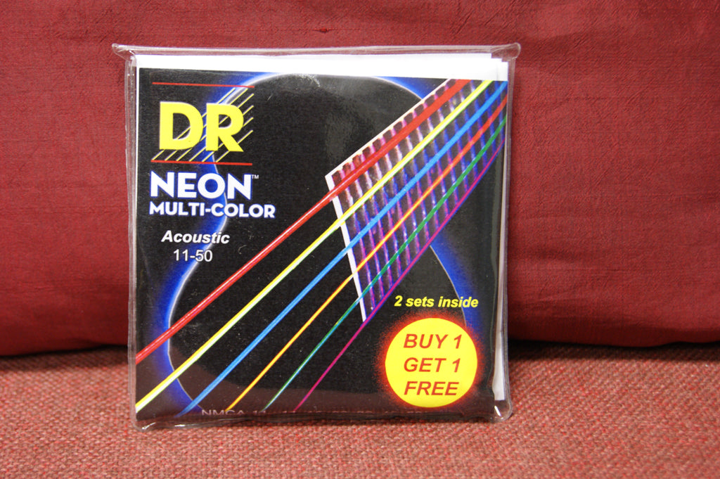 DR Neon NMCA-11 multi colour acoustic guitar strings 11-50 (Twin pack)