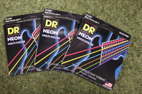 DR Neon NMCE-10 multi colour electric guitar strings 10-46 (3 PACKS)