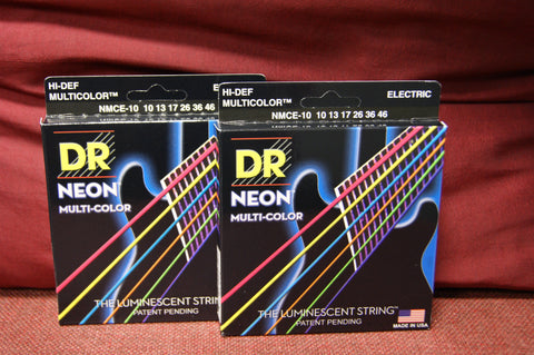 DR Neon NMCE-10 multi colour electric guitar strings 10-46 (2 PACKS)