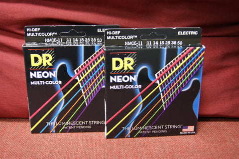 DR Neon NMCE-11 multi colour electric guitar strings 11-50 (2 PACKS)