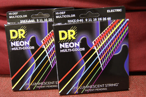 DR Neon NMCE9-46 multi colour electric guitar strings 9-46 (2 PACKS)
