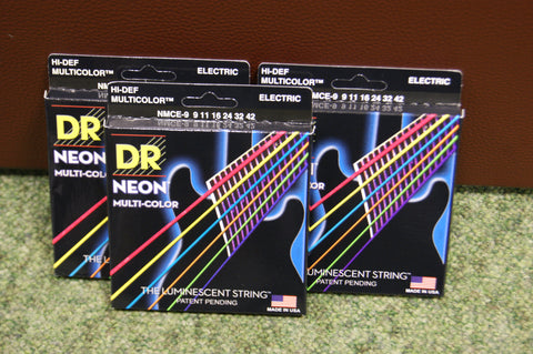 DR Neon NMCE-9 multi colour electric guitar strings 9-42 (3 PACKS)