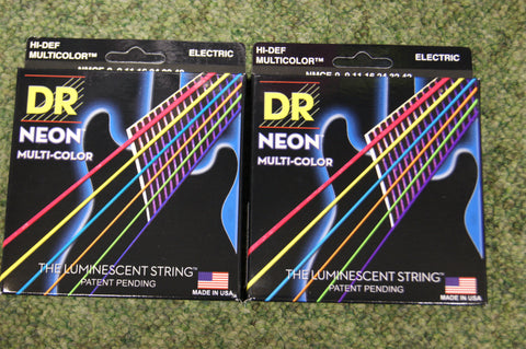 DR Neon NMCE-9 multi colour electric guitar strings 9-42 (2 PACKS)