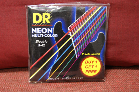 DR Neon NMCE-9 multi colour electric guitar strings 9-42 (BOGOF)