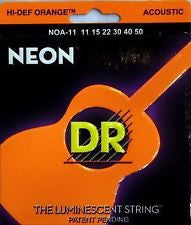 DR Neon NOA-11 orange coated acoustic guitar strings 11-50