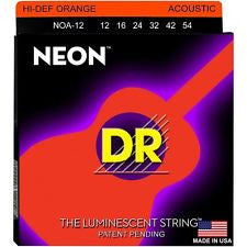 DR Neon NOA-12 orange coated acoustic guitar strings 12-54