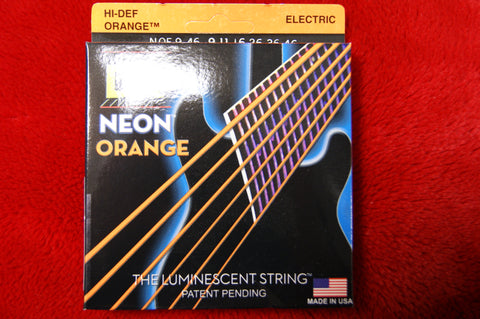 DR Neon NOE9-46 reflective orange electric guitar strings 9-46