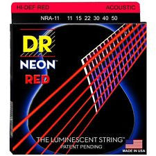 DR Neon NRA-11 red coated acoustic guitar strings 11-50
