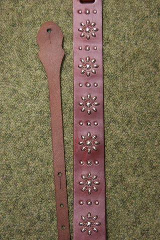 Guitar strap leather OL1 brown by Onori with metal stud design