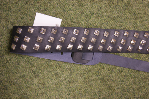Guitar strap black leather with metal studs by Perris