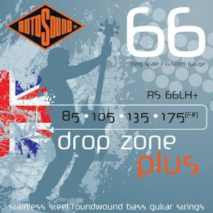 Rotosound RS 66LH+ drop zone+ stainless steel bass guitar strings 85-175
