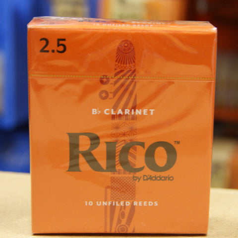 Rico RCA1025 Bb clarinet reeds strength 2.5 box of 10
