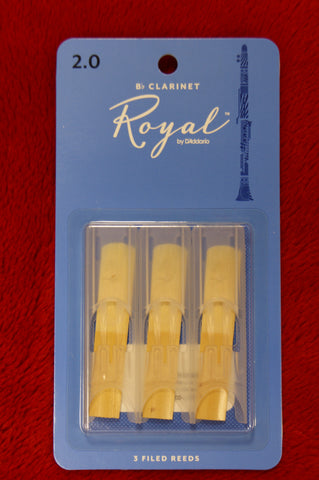 Rico Royal 2 clarinet Bb reeds (PACK OF 3)