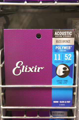 Elixir 11025 Polyweb 11-52 acoustic guitar strings custom light (2 PACKS)