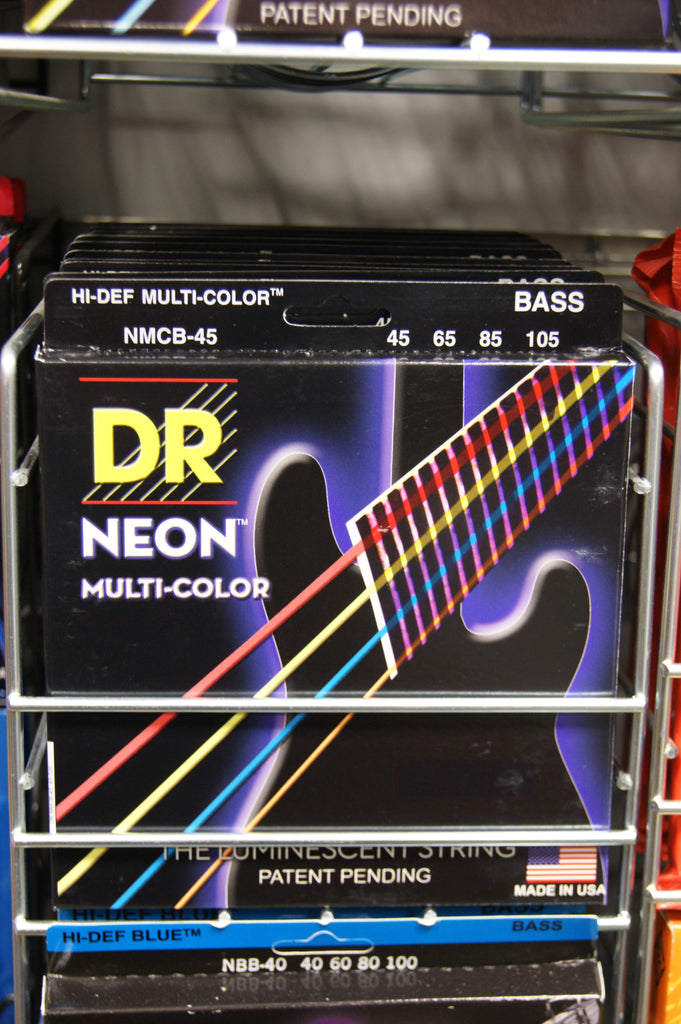 DR Neon NMCB-45 multi-colour luminous medium bass guitar strings 45-105