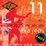 Rotosound R11 medium electric guitar strings 11-48 - (3 PACKS) Made in England - Includes an extra top E string free!