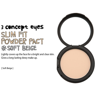 3 CONCEPT EYES Face Powder SOFT BEIGE 3CE SLIM FIT POWDER PACT SPF22 PA++ - KollectionK