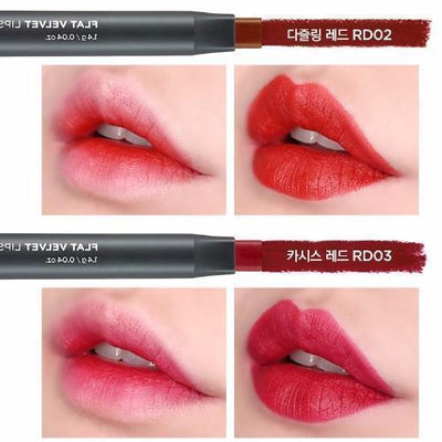 THE FACE SHOP Lipstick RD02_V THE FACE SHOP Flat Velvet Lipstick - KollectionK