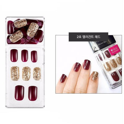 THE FACE SHOP Nail Tool #02 Elegant Burgundy THE FACE SHOP Gel Chock Press on Gel Nail Tip Kit Artificial Nails - KollectionK