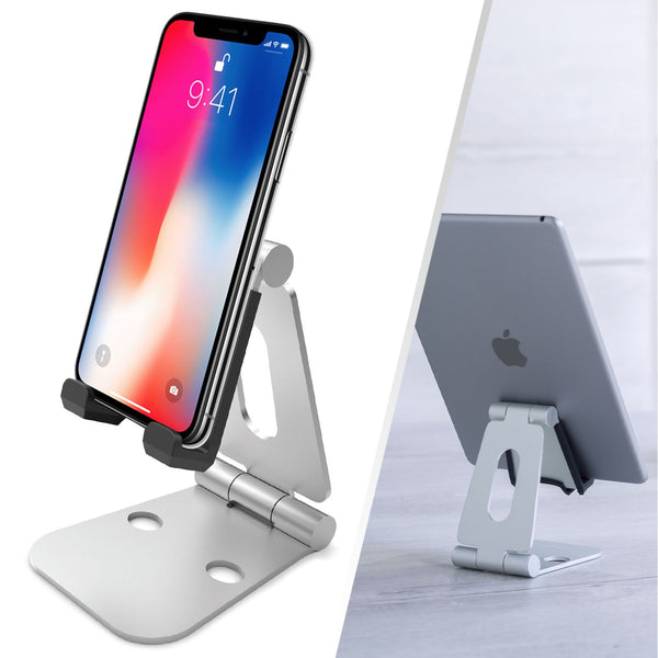Rotatable Mobile Phone Holder and Tablet Stand - Silver