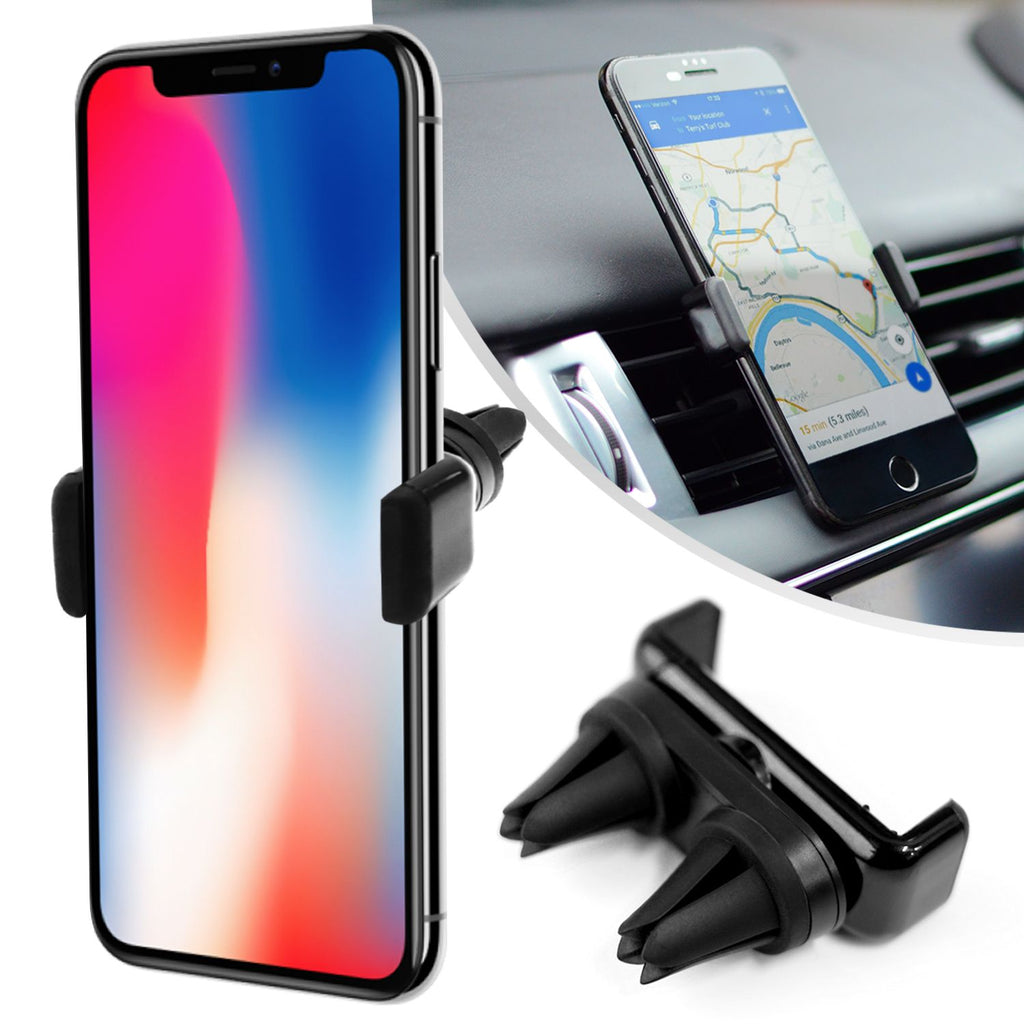 Mobile Phone In-Car Dual Air Vent Grip with 360 Degree Rotation