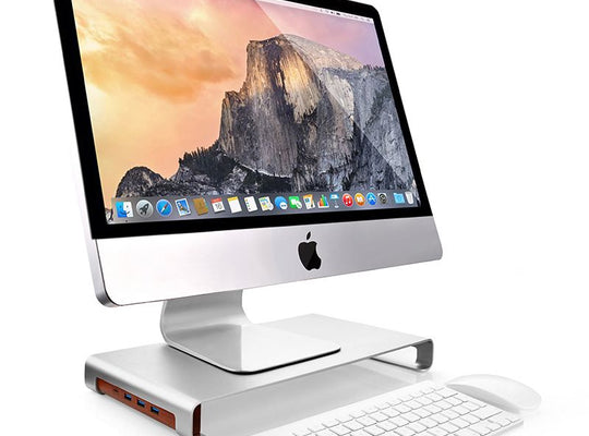 Monitor Stand Riser with Type C Thunderbolt HUB - Silver