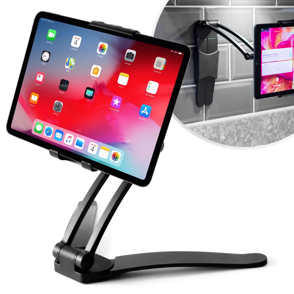 Tablet Stand 2-in-1 Kitchen Wall/CounterTop Mount Stand Compatible with iPads, Tablets 7 to 10 Inch and All Smartphones