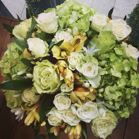 White & Green Hand-Tied Bouquet