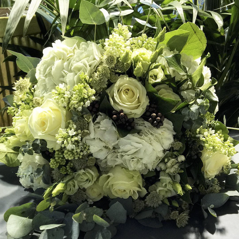 White & Green Exquisite Hand-Tied Bouquet