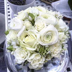 All White Heavenly Hand-Tied Bouquet