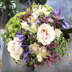 Pastel & Purple Elegant Hand-Tied Bouquet