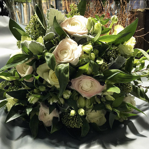 White & Green Luxury Hand-Tied Bouquet