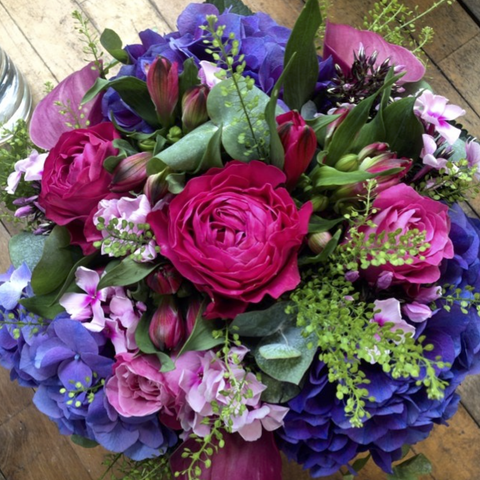 Bright Pink & Purple Hand-Tied Bouquet