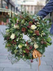 Cream Rose and Pine Cone Wreath