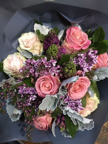 Purple & Coral Hand-Tied Bouquet