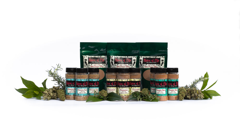 Spice of Life culinary hemp cbd cbg product display