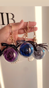 Pearls and Preserved Rose Key Chain