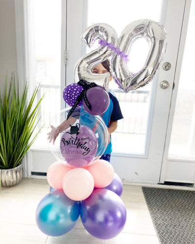 Deluxe Number Bubble Balloon arrangements